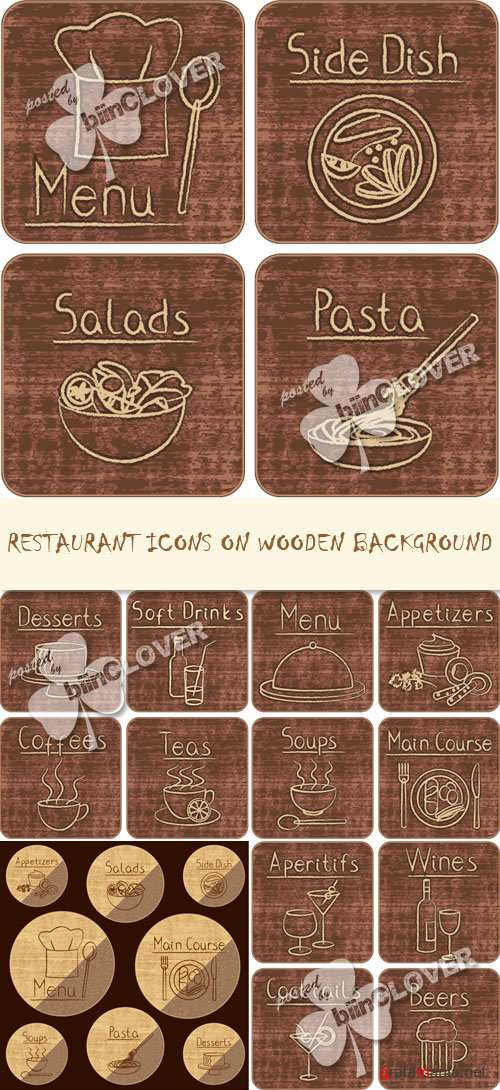 Restaurant icons on wooden background 0219