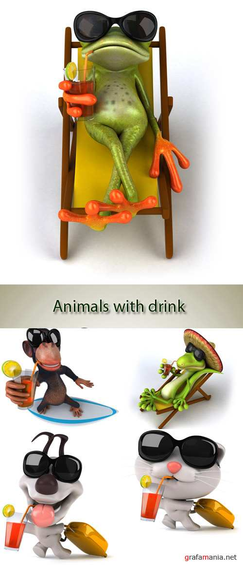Stock Photo: Animals with drink