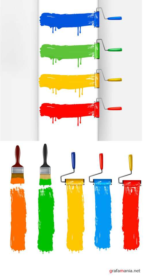Color Paint Roller Brush Vector