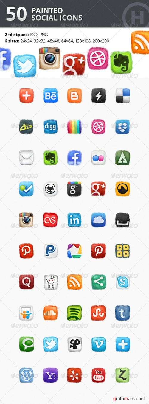 GraphicRiver 50 Painted Social Icons