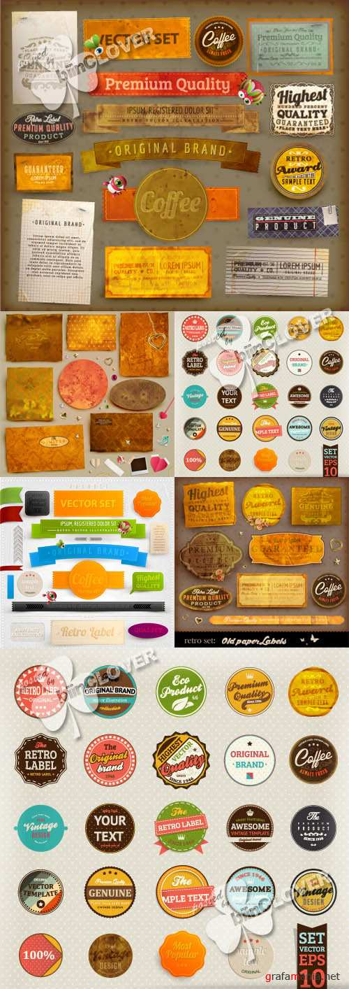 Set of old papers, labels, ribbons and stickers 0228