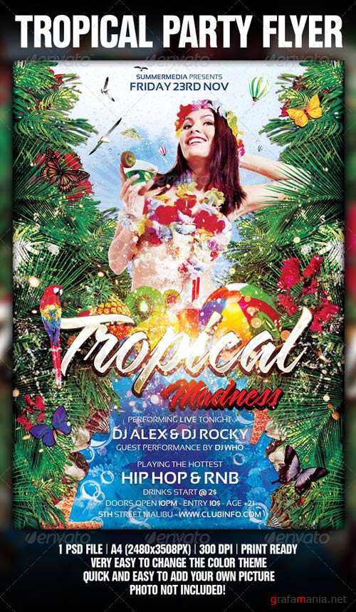 GraphicRiver Tropical Summer Madness Party Flyer / Poster