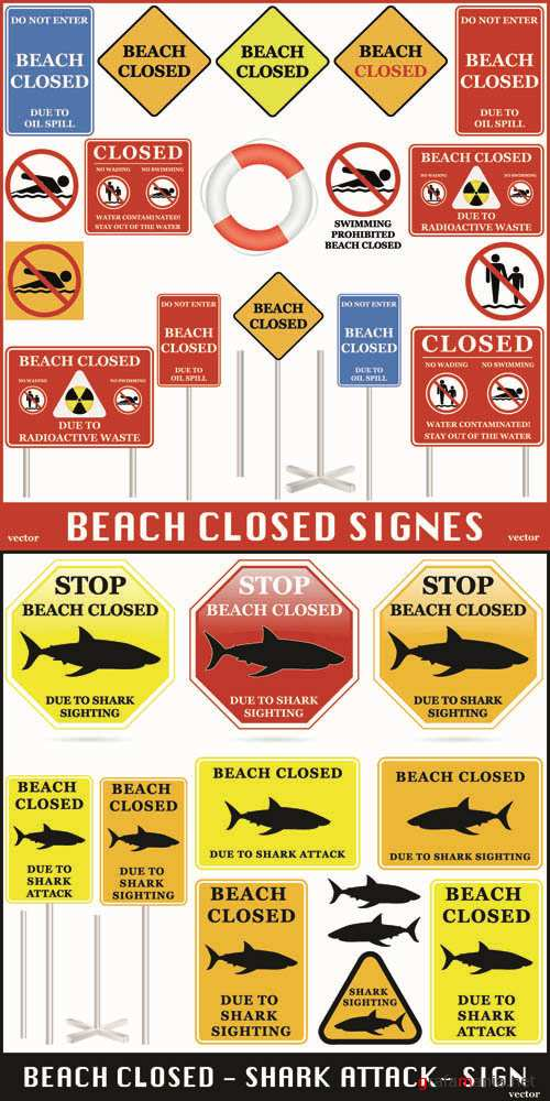 Beach Closed - Vector Signs Collection #3