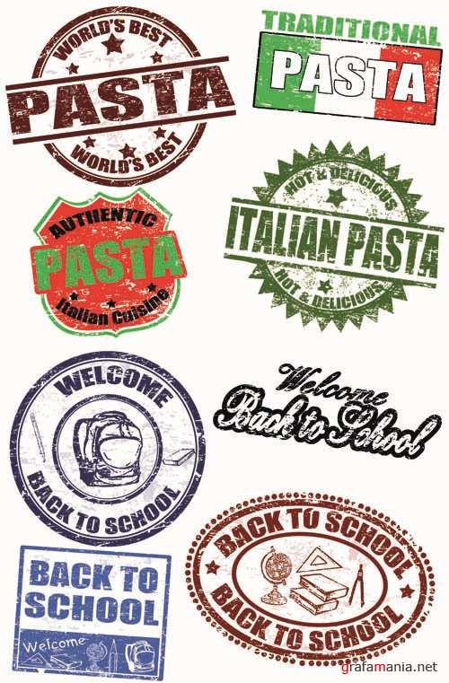 Italian Pasta & School Set - Stamps the Vector Collection #3