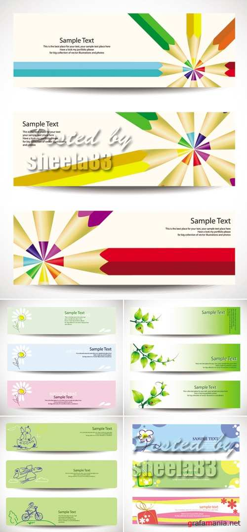 Cute Banners Vector