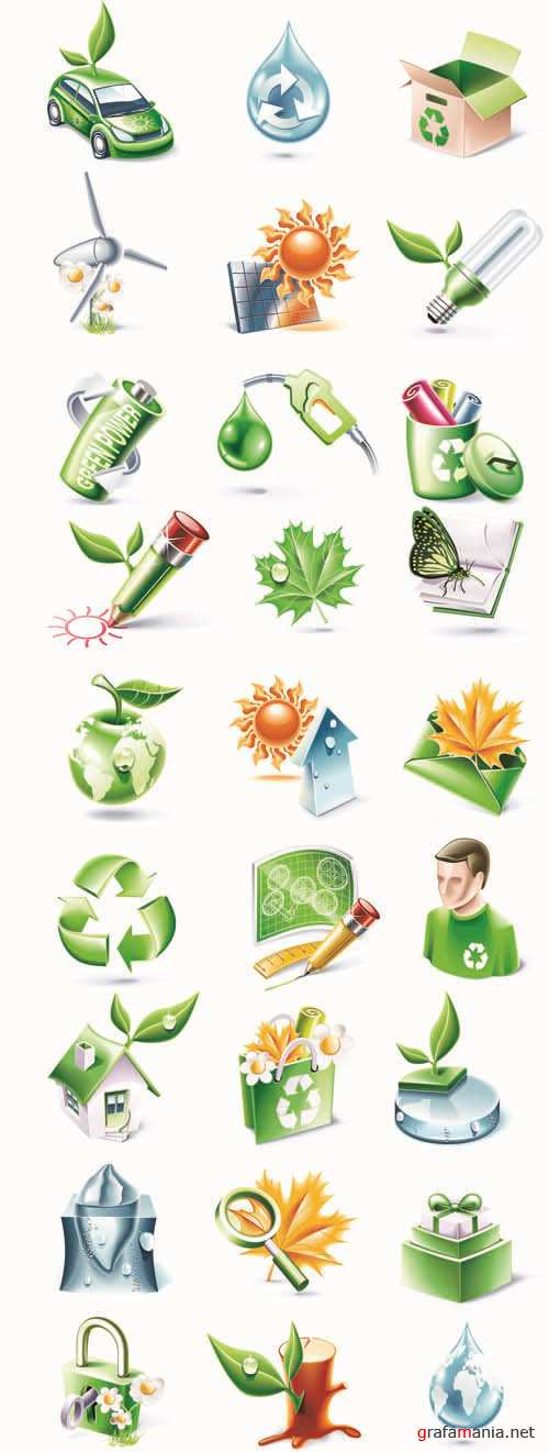 Bio and Nature - 3D Web Vector Icons Collection #6