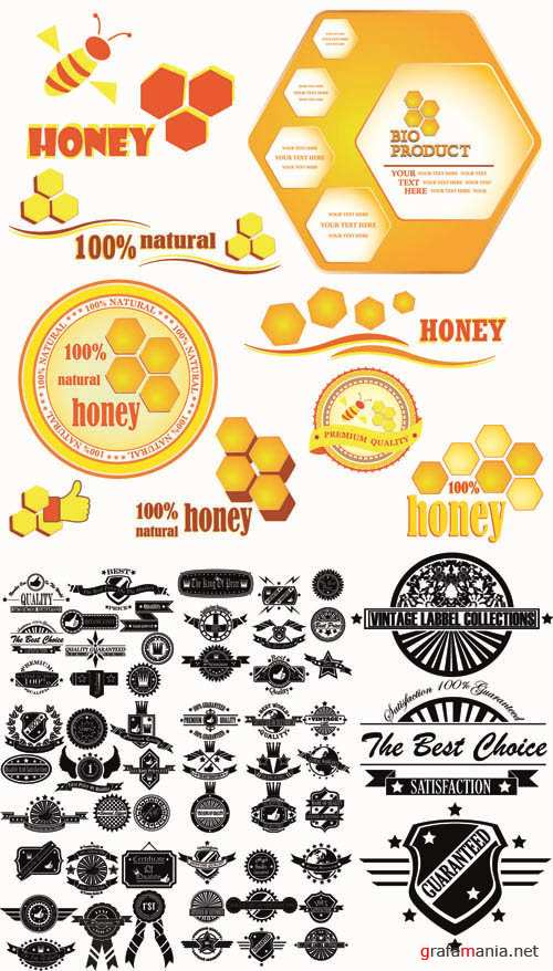 Honey -  Labels Vector Collection #203