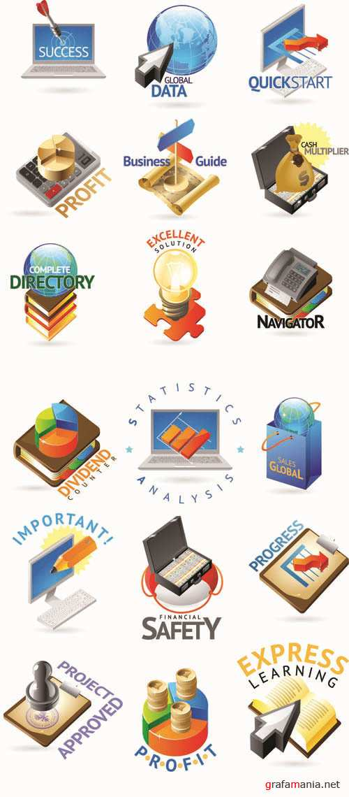 3D Web Vector Icons Collection #9