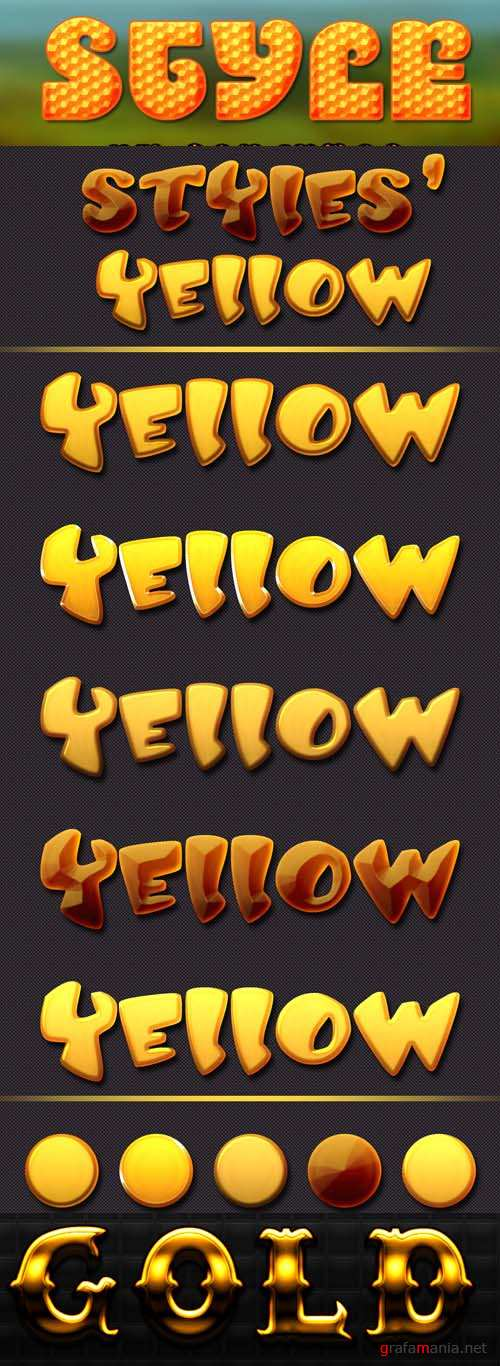 Yellow and Gold Text Styles
