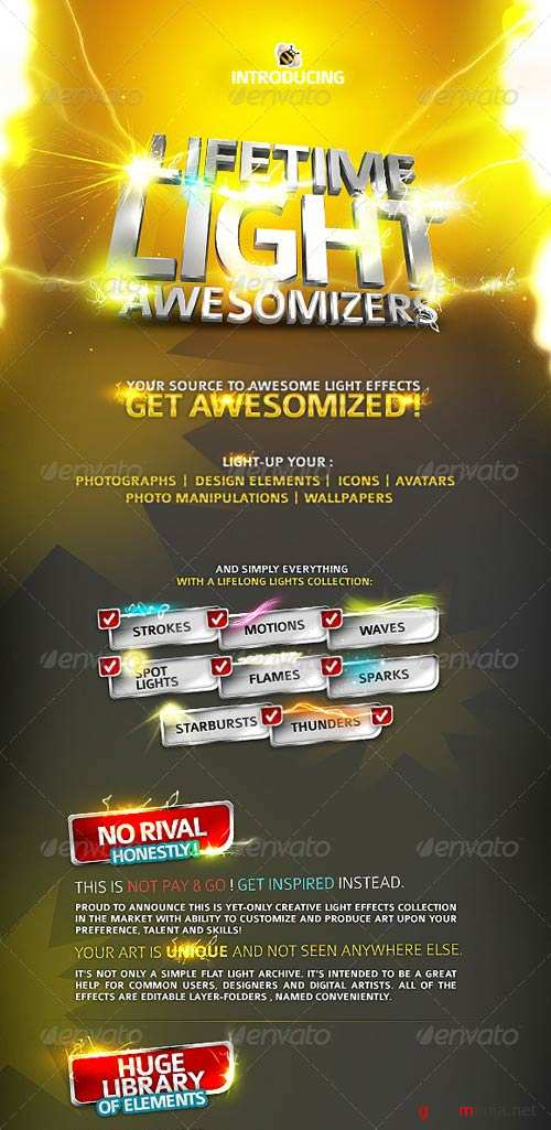 GraphicRiver Lifetime Light Awesomizers - Photoshop Effects