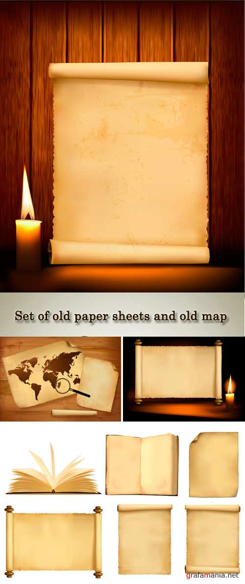 Stock: Set of old paper sheets and old map