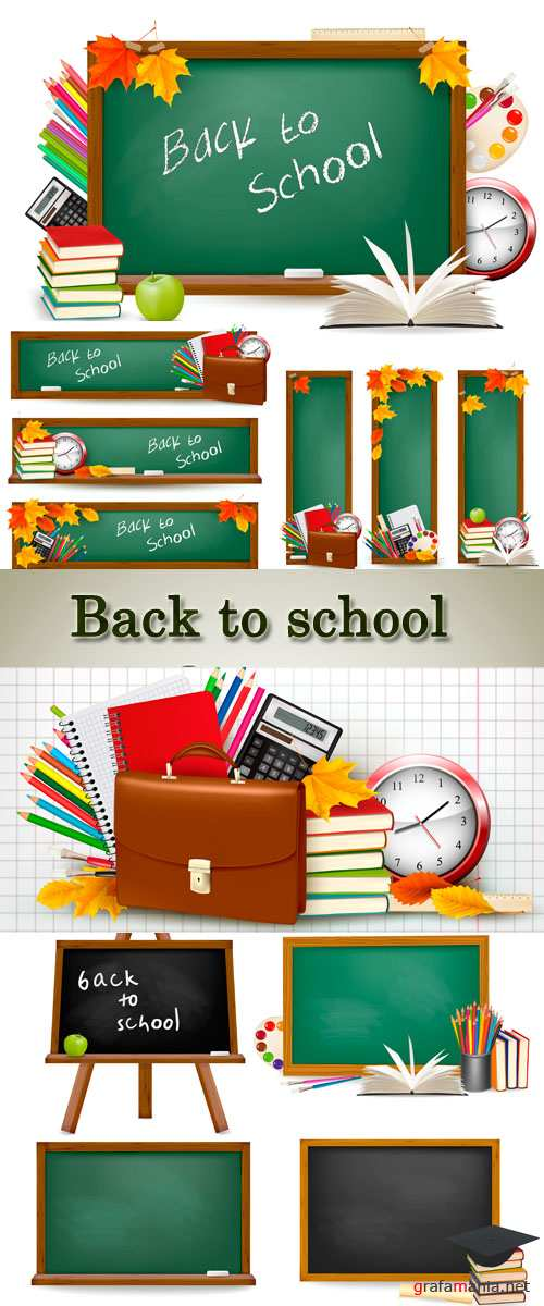 Stock: Back to school. Green desk with school supplies