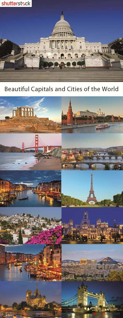Beautiful Capitals and Cities of the World - 25 HQ JPEG Stock Photo