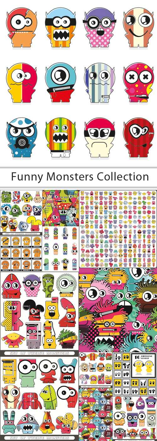 Funny Monsters Collection - 25 EPS Vector Stock
