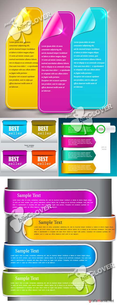 Colorful banners, bookmarks and arrows 0266