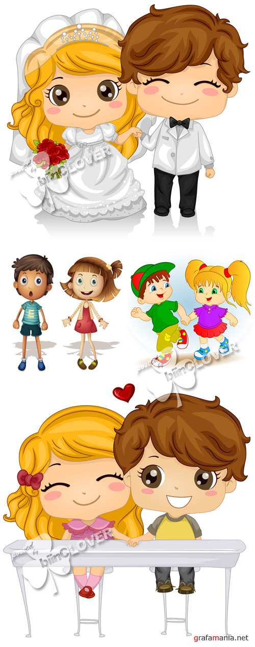 Illustration of cartoon girl and boy 0266