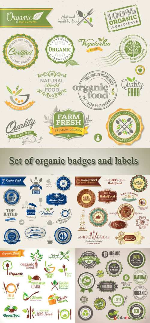 Stock: Set of organic badges and labels