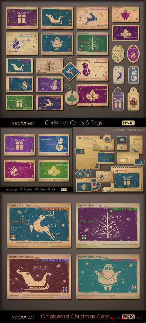 Stock: Collection of colorful chipboard Christmas cards