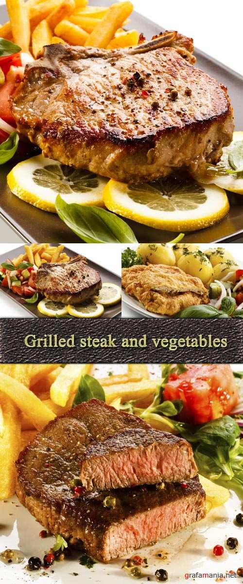 Stock Photo: Grilled steak and vegetables
