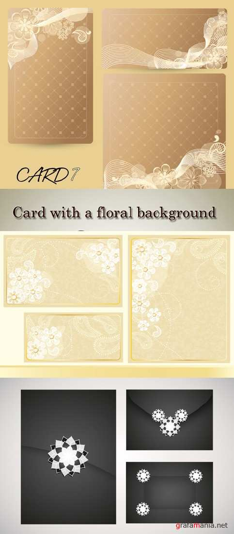Stock: Card with a floral background of various sizes