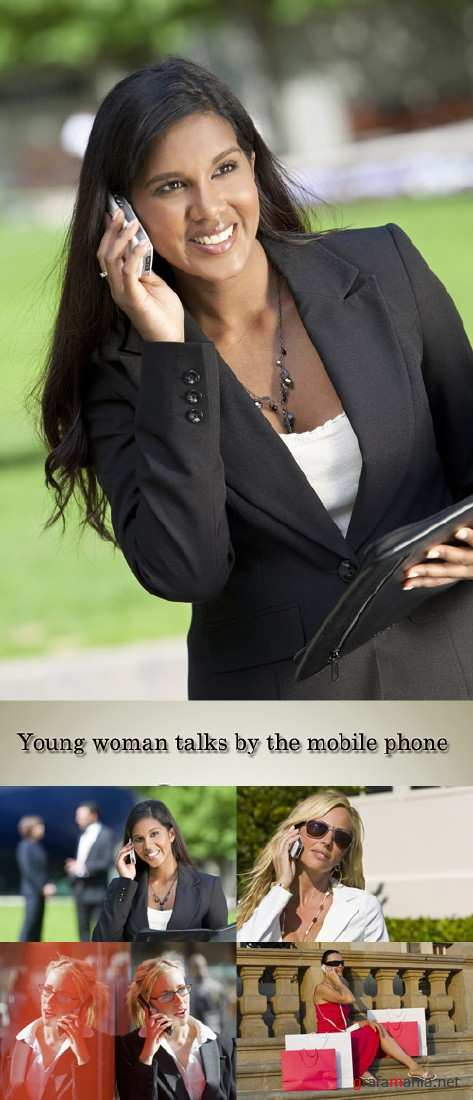 Stock Photo: Young woman talks by the mobile phone