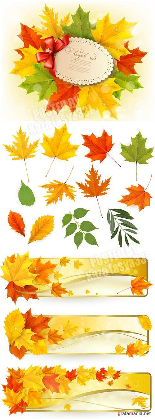Autumn leaves & banners