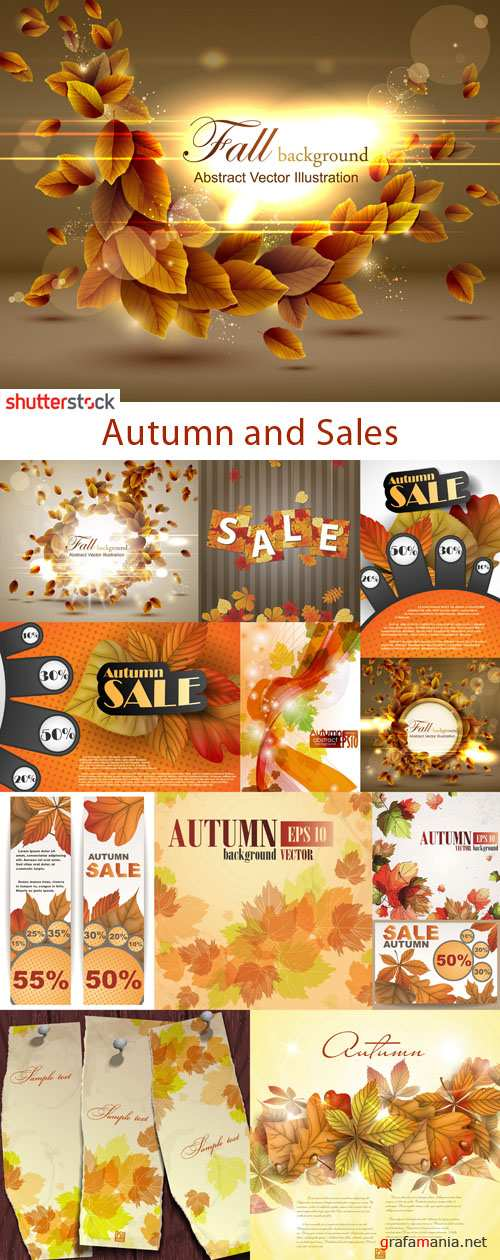Autumn and Sales - 25 EPS Vector Stock