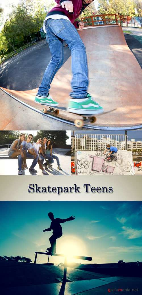 Stock Photo: Skatepark Teens