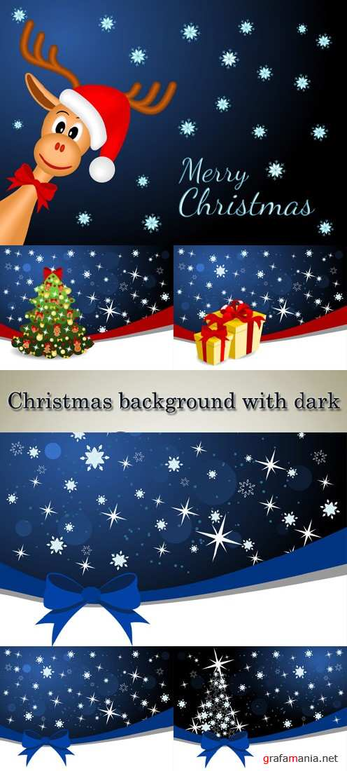 Stock: Christmas background with dark sky and snowflakes