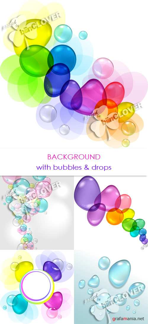 Background with bubbles and drops 0278