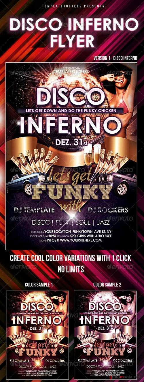 GraphicRiver Disco Inferno, Happy New Year Flyer 2 Versions