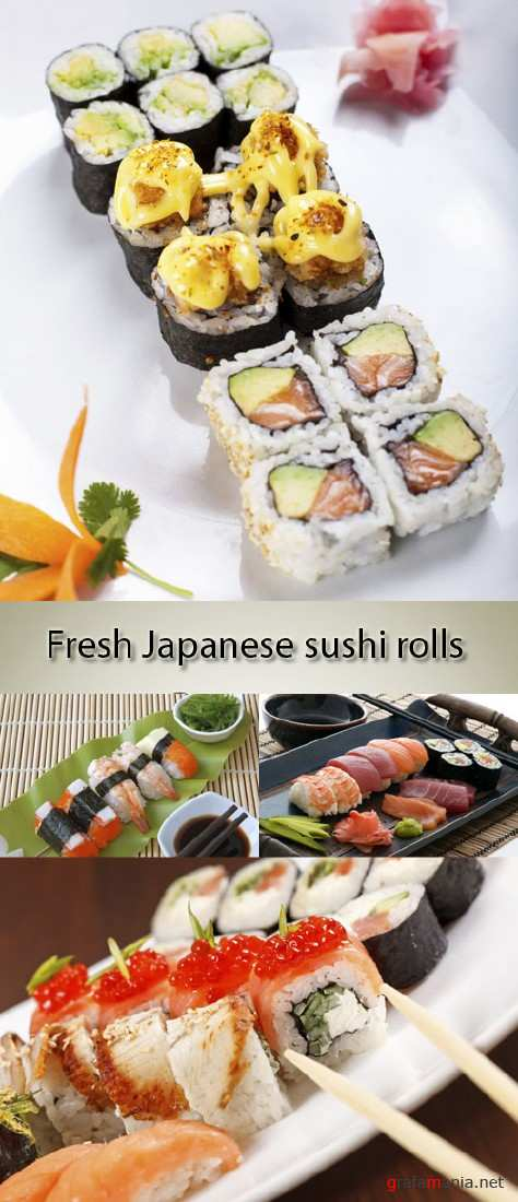 Stock Photo: Fresh Japanese sushi rolls