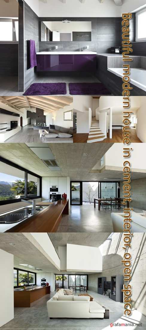 Stock Photo: Beautiful modern house, cement at interior
