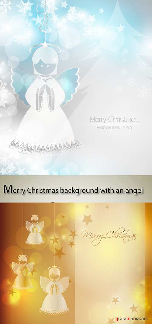 Stock: Merry Christmas background with an angel