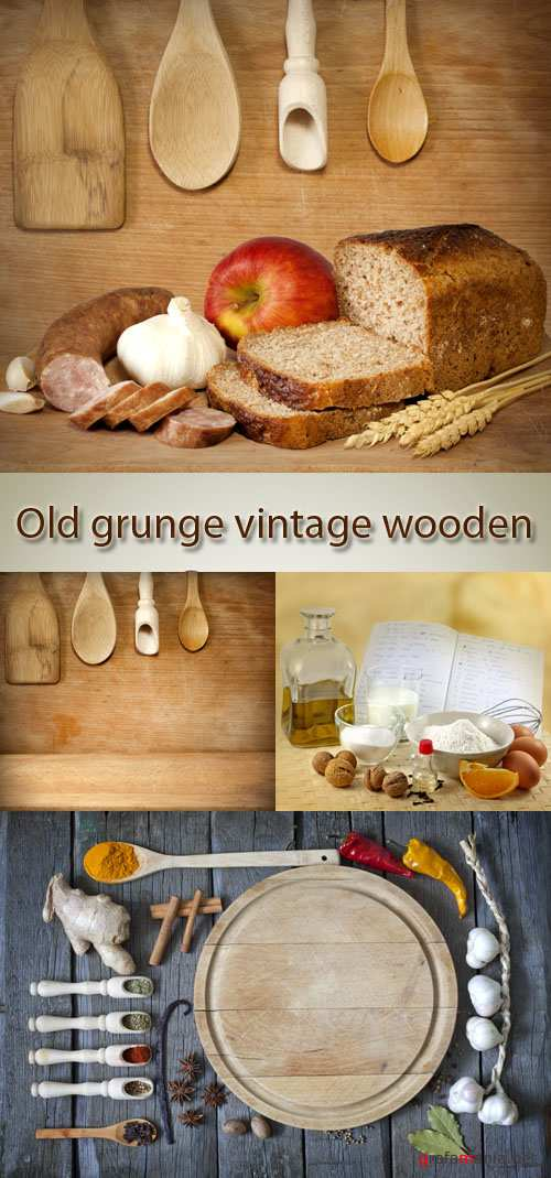 Stock Photo: Wooden tableware and still life in style a vintage