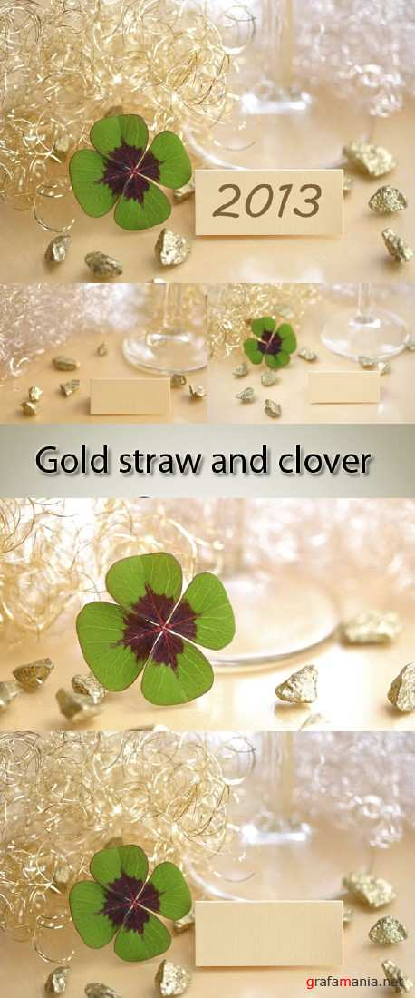 Stock Photo: Gold straw and clover
