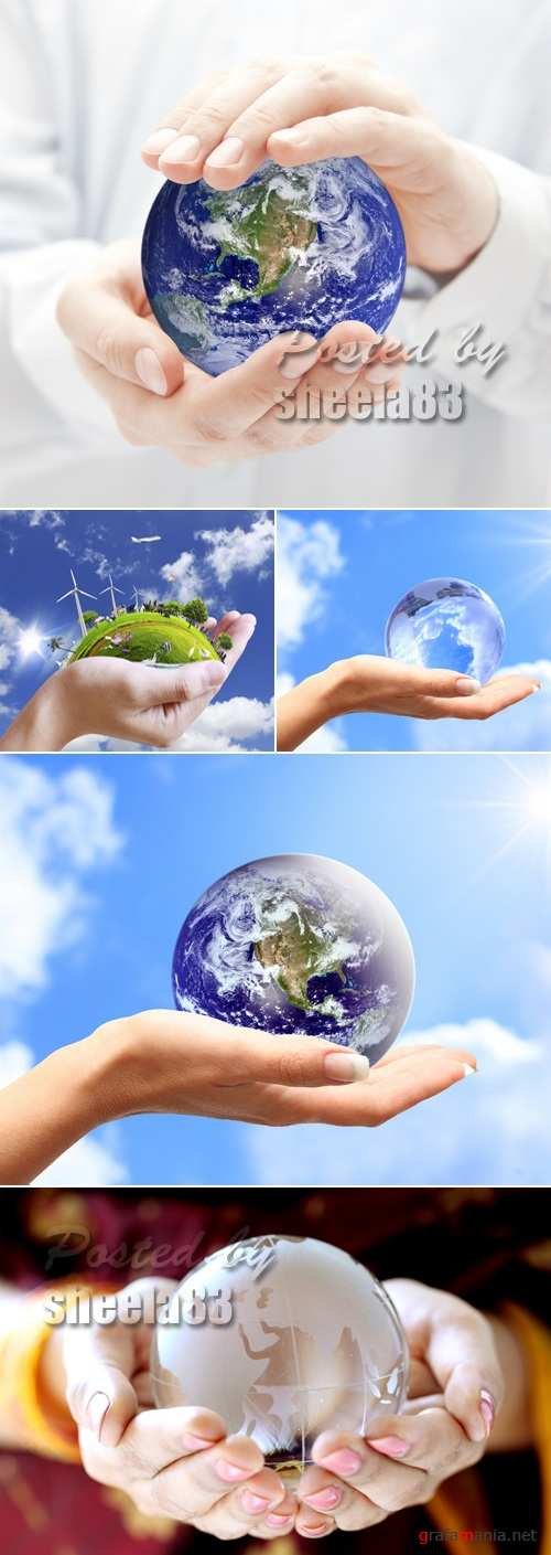 Stock Photo - Planet Earth on Human Hands