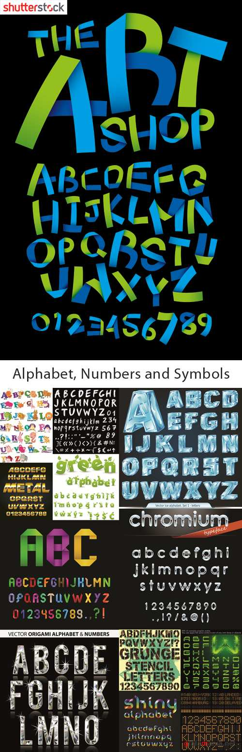 Alphabet, Numbers and Symbols - 25 EPS Vector Stock Collection