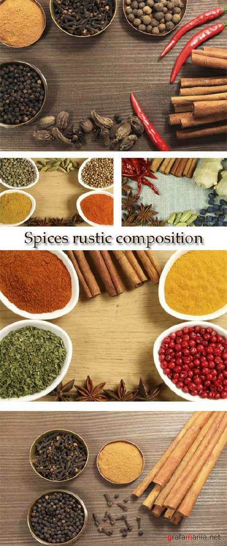 Stock Photo: Spices rustic composition