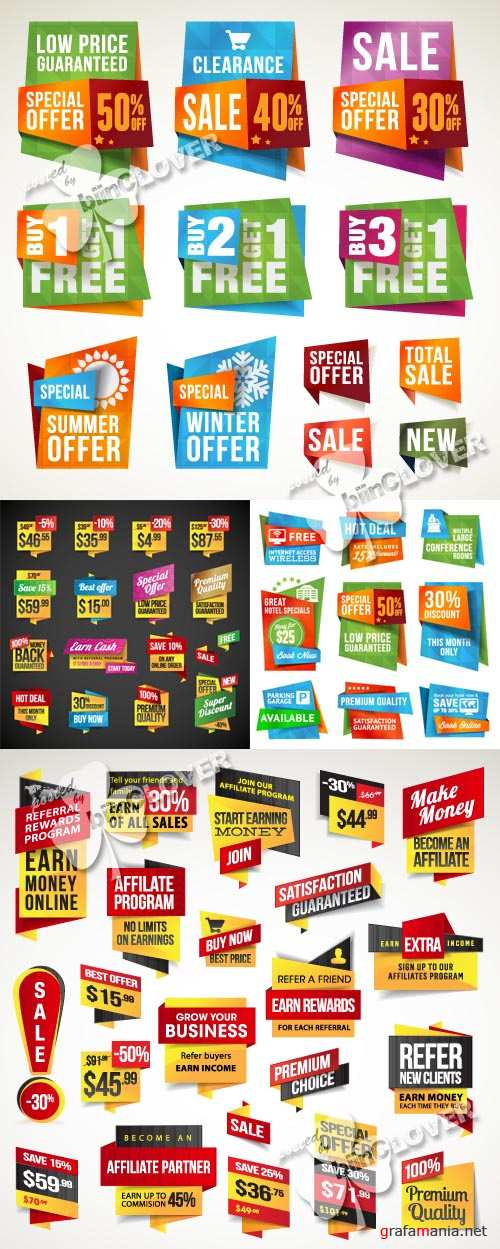 Set of sale labels, stickers and banners 0290