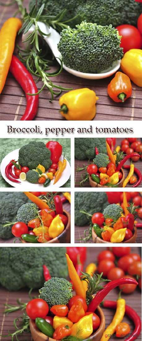 Stock Photo: Broccoli, pepper and tomatoes