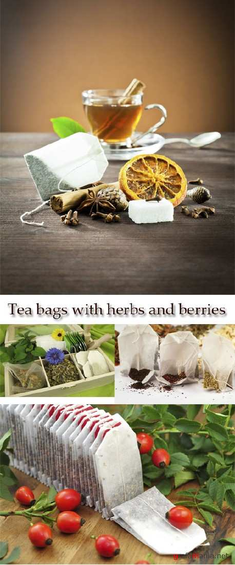 Stock Photo: Tea bags with herbs and berries