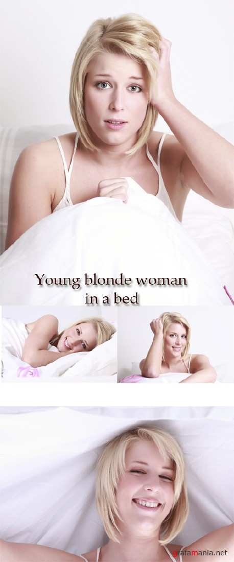 Stock Photo: Young blonde woman in a bed
