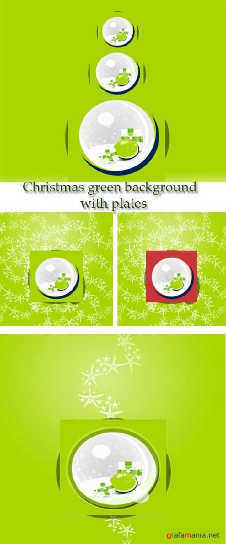 Stock: Christmas green background with plates