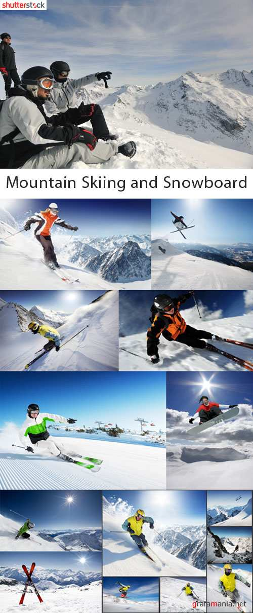 Mountain Skiing and Snowboard - QH Stock Photo