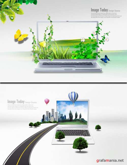 Sources - Green Nature in Laptop