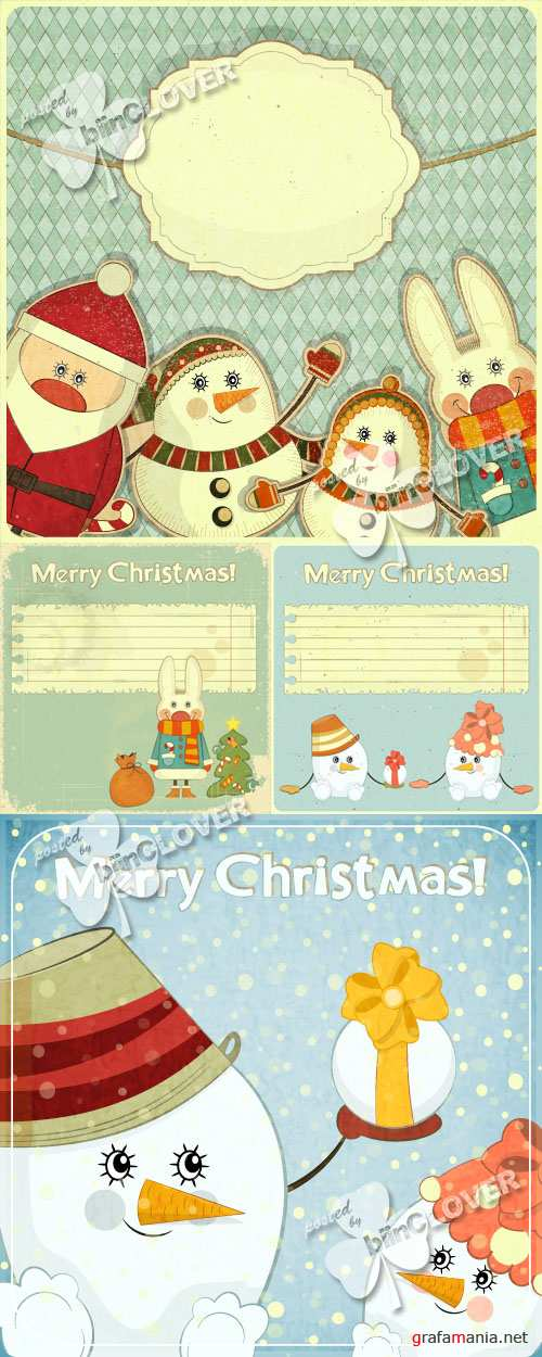 Retro Christmas and New Year's card 0294