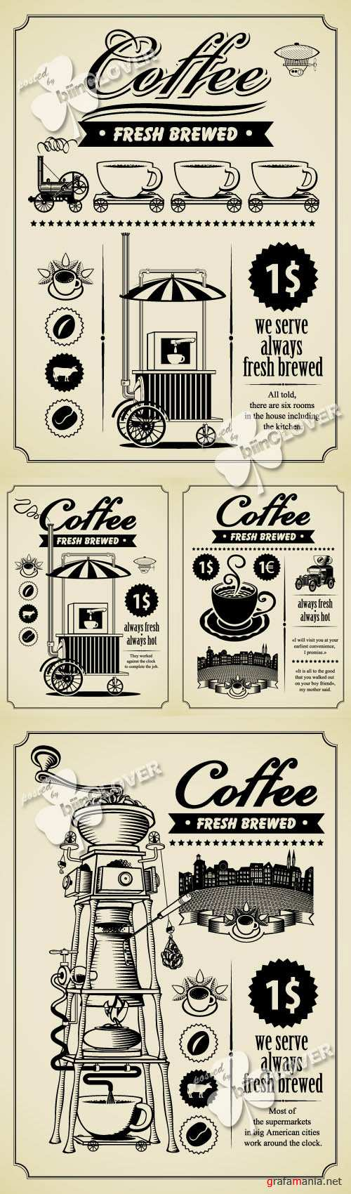 Retro design of coffee brochure 0296