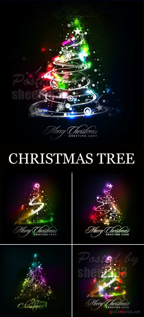 Sparkling Christmas Tree Vector