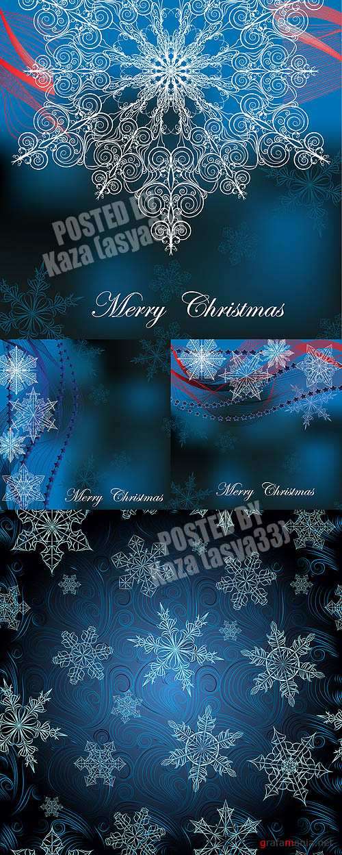 Snowflake blue cards